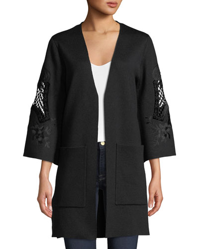 Kobi Halperin Della Open-Front Sweater with Embroidered Sleeves