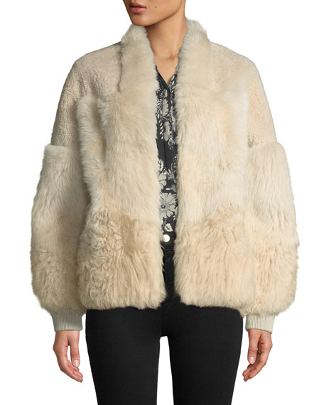Connie Patched Lamb Fur Jacket in Champagne
