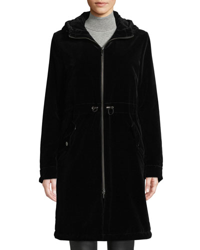 Long Velvet Parka Coat w/ Hood