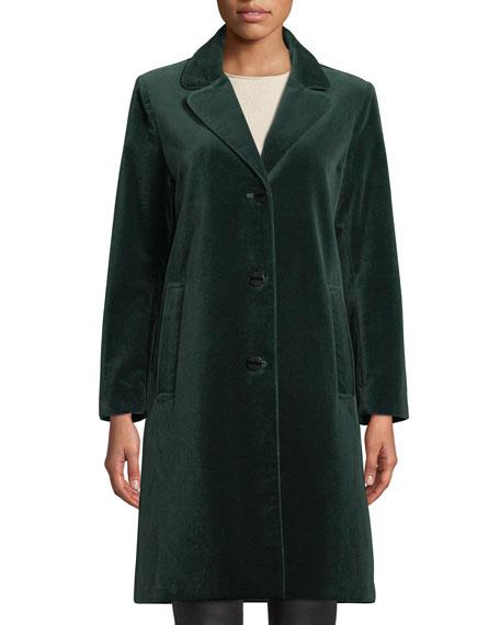JANE POST Single-Breasted Velvet Coat in Green