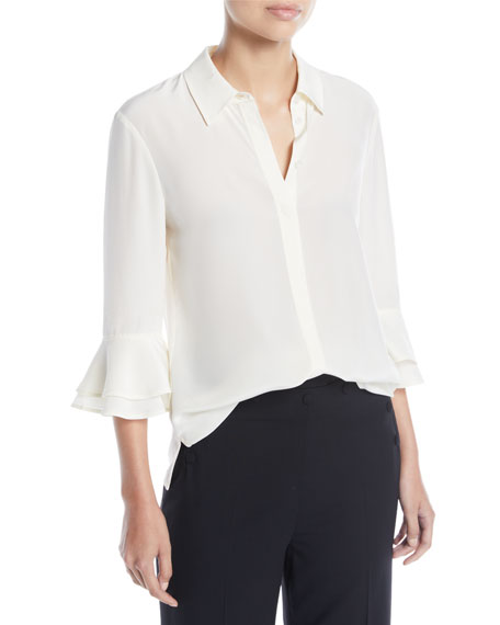 Monica Ruffle-Sleeve Silk Top