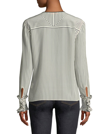 Wendy Button-Front Long-Sleeve Striped Silk Blouse