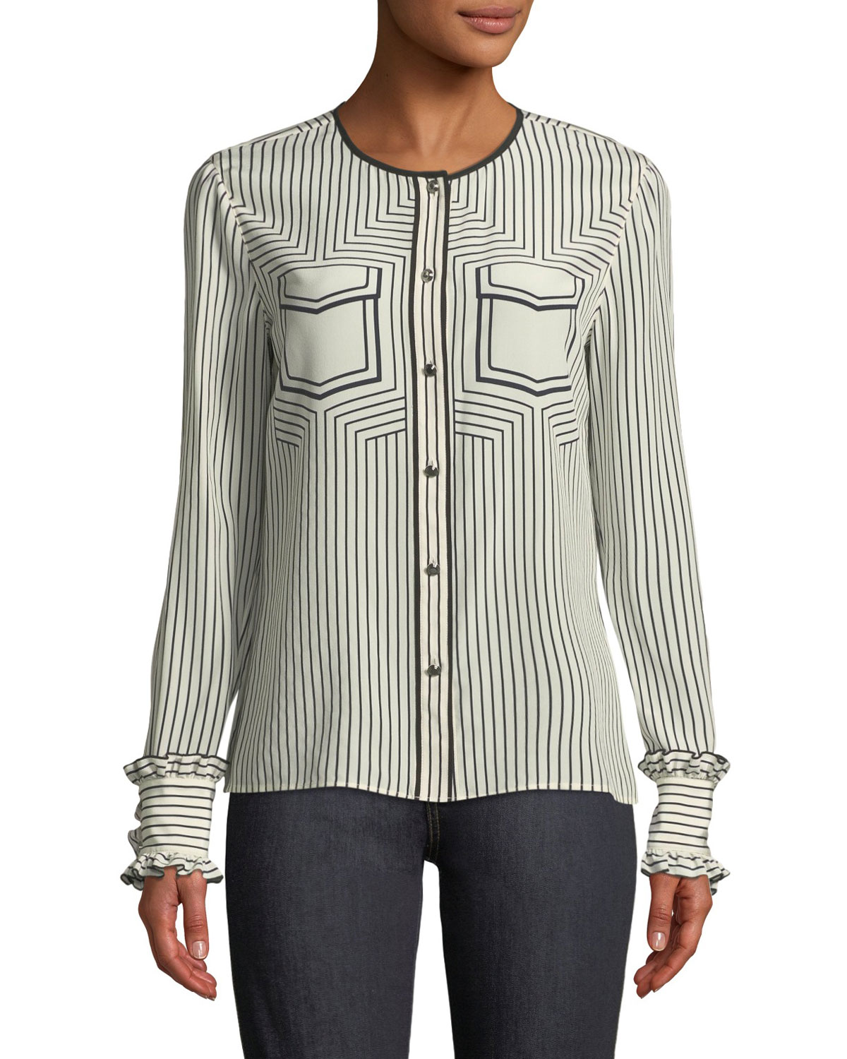 714bc4094b634 Tory Burch Wendy Button-Front Long-Sleeve Striped Silk Blouse ...