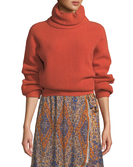 Inez Ribbed Wool Turtleneck Sweater