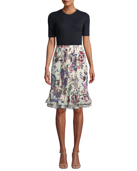 Louisa Floral-Print Pintuck Ruffle Skirt