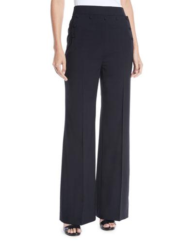 Wide-Leg Tropical Wool Pants