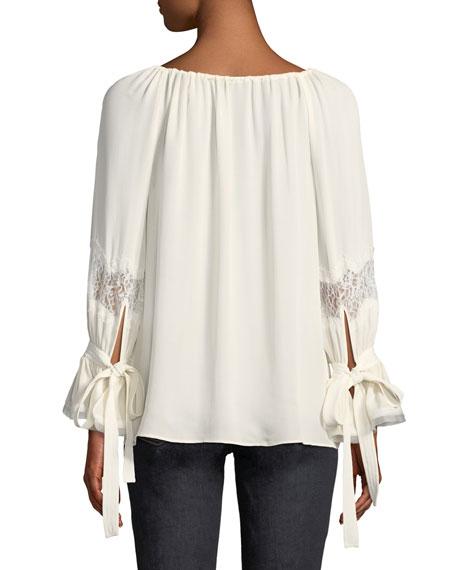Christy Tie Boat-Neck Lace-Inset Long-Sleeve Silk Blouse