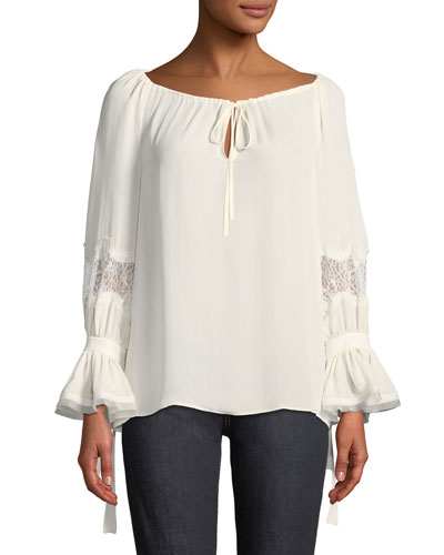 Christy Tie Boat-Neck Lace-Inset Long-Sleeve Silk Blouse