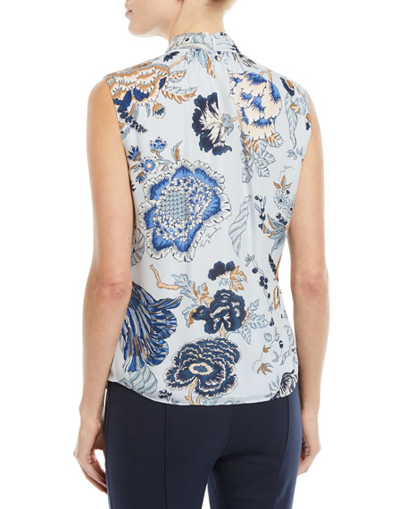 Tie-Neck Floral-Print Silk Top