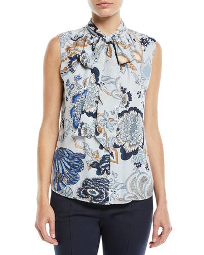 Tie-Neck Floral-Print Silk Top
