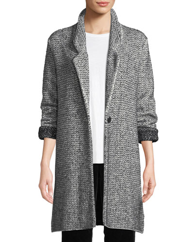 Cozy Notched-Collar One-Button Melange Cotton-Blend Long Jacket