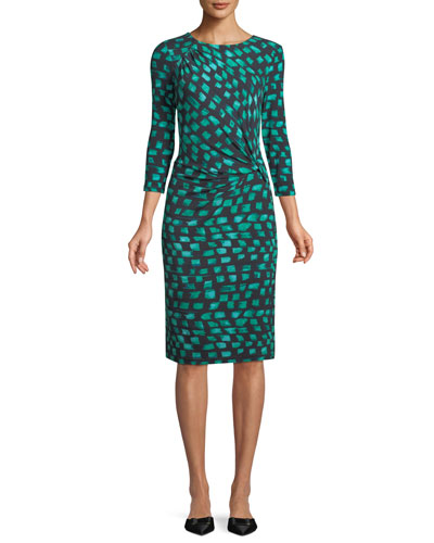 Round-Neck 3/4-Sleeve Vivid-Print Twist-Front Dress, Plus Size