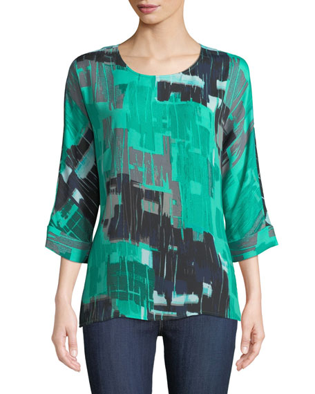 NIC+ZOE Jade Round-Neck 3/4-Sleeve Pebble-Print Top