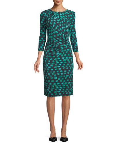 Round-Neck 3/4-Sleeve Vivid-Print Twist-Front Dress