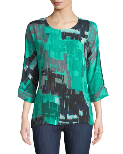 Jade Round-Neck 3/4-Sleeve Pebble-Print Top, Plus Size