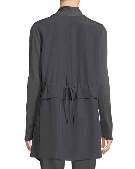 Reset Open-Front Long-Sleeve Cardigan w/ Contrast Back, Plus Size