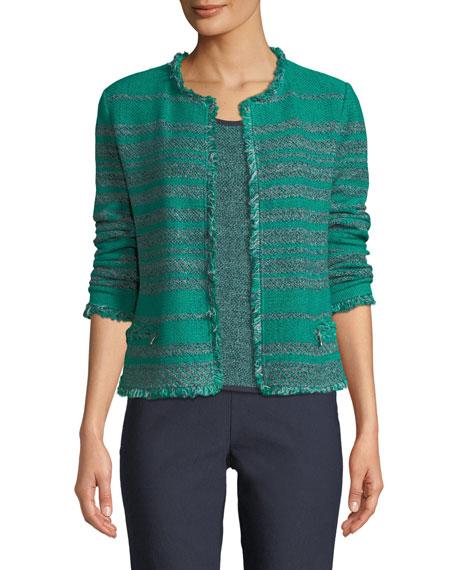 Must Have Open-Front Tweed Jacket w/ Fringe Trim