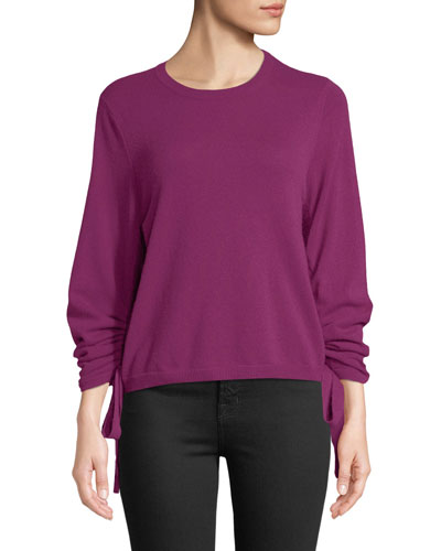 Drawstring-Sleeve Crewneck Cashmere Sweater