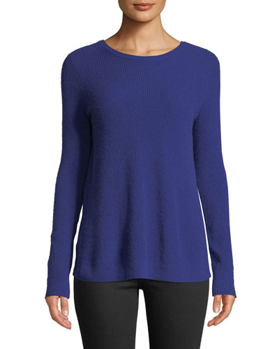 Reversible Crossover-Back Crewneck Cashmere Sweater
