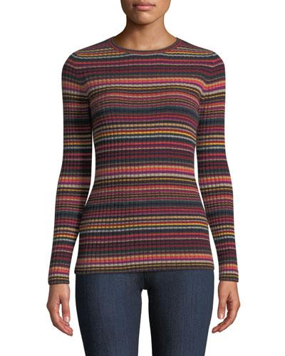 Multi-Stripe Ribbed Cashmere Sweater