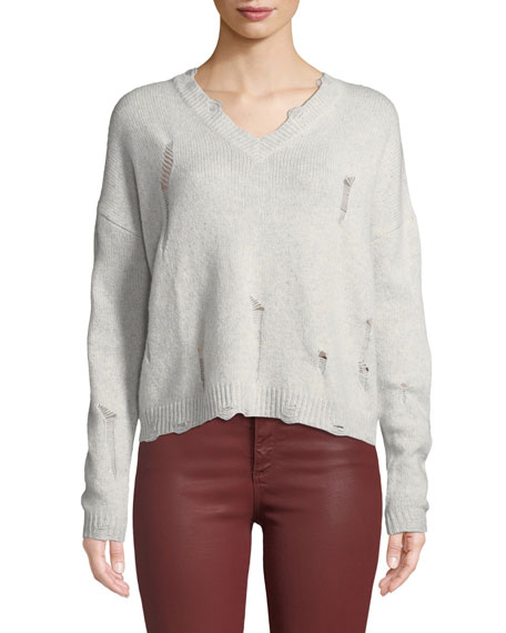 Autumn Cashmere DISTRESSED V-NECK BOXY CASHMERE SWEATER