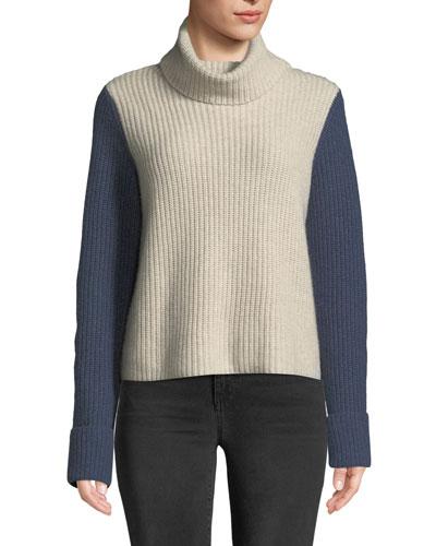 Cuffed Colorblock Turtleneck Cashmere Sweater