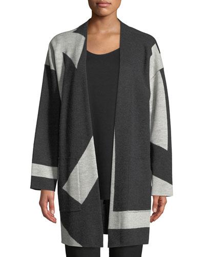 Graphic Merino Long Kimono Cardigan