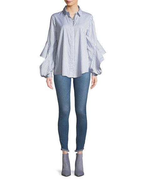 Farrah High-Rise Skinny Jeans w/ Fringe Hem