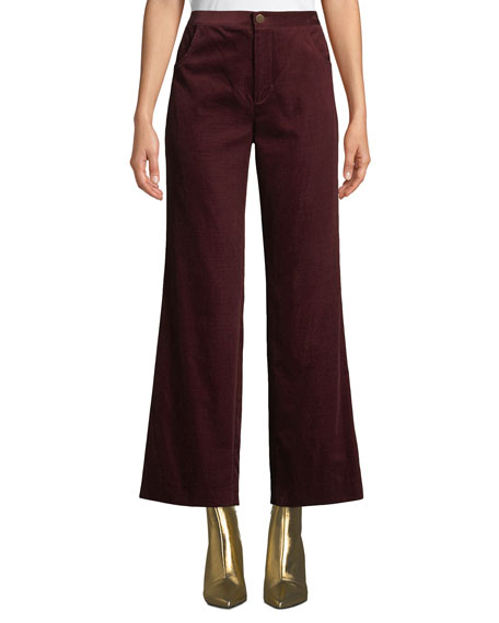 MiH Daily High-Rise Straight-Leg Velvet Jeans