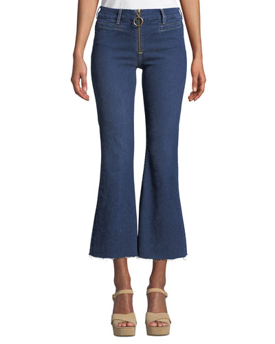 Marrakech Crop Kick-Flare Jeans with Ring Zip & Raw Hem