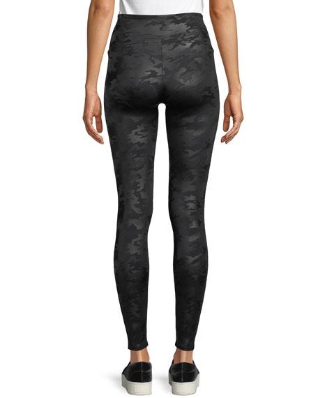 Camo-Print Faux-Leather Leggings