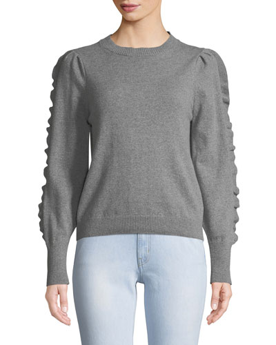Bianca Cashmere/Wool Ruffle Crewneck Sweater