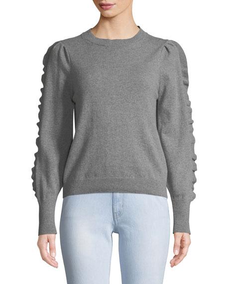 MiH Bianca Cashmere/Wool Ruffle Crewneck Sweater
