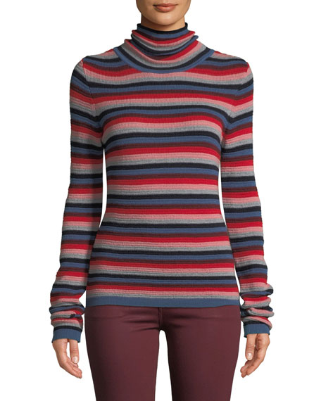 MiH Moonie Striped Merino Wool Turtleneck Sweater