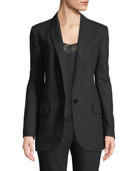 James One-Button Wool Blazer in True Black