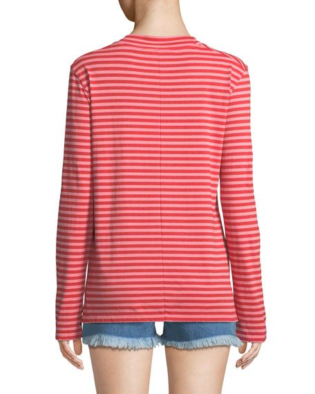 Emelie Striped Long-Sleeve Cotton Top