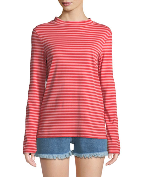 MiH Emelie Striped Long-Sleeve Cotton Top