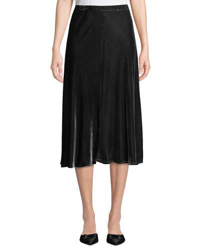 Bias-Cut Velvet Midi Skirt, Plus Size