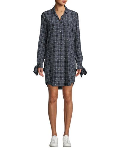 Manning Button-Front Long-Sleeve Floral-Print Plaid Shirtdress