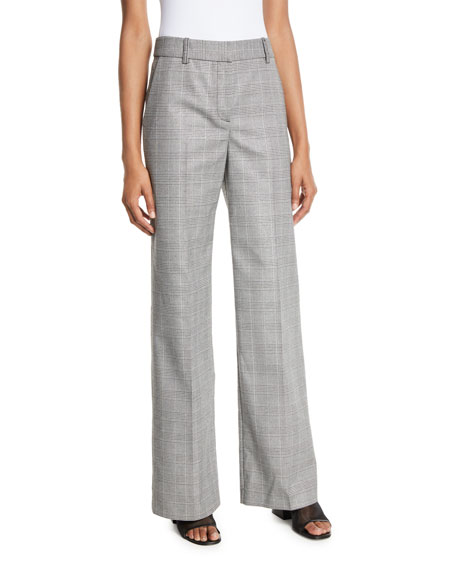 Equipment  HYPERION WIDE-LEG CHECK TROUSERS