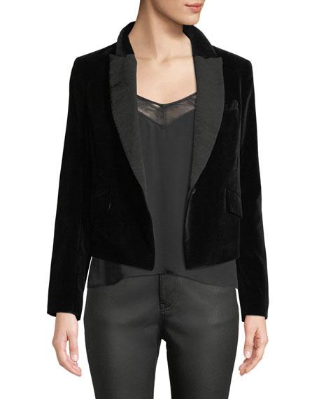+ Tabitha Simmons Bourlet Faille-Trimmed Cotton-Velvet Blazer in Black