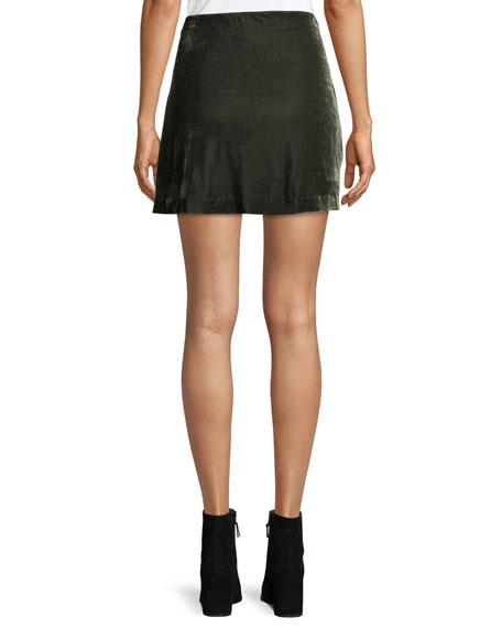 Koshi Draped Tie-Front Velvet Mini Skirt