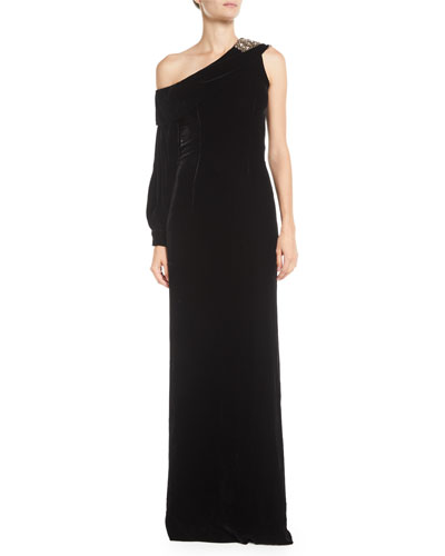 Austine Velvet One-Shoulder Gown w/ Brooch