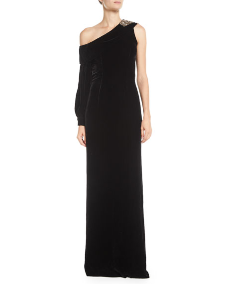 Sachin & Babi AUSTINE VELVET ONE-SHOULDER GOWN W/ BROOCH