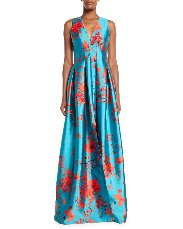 Sachin & Babi Noir Annisa Sleeveless Ball Gown w/ Embroidery ...