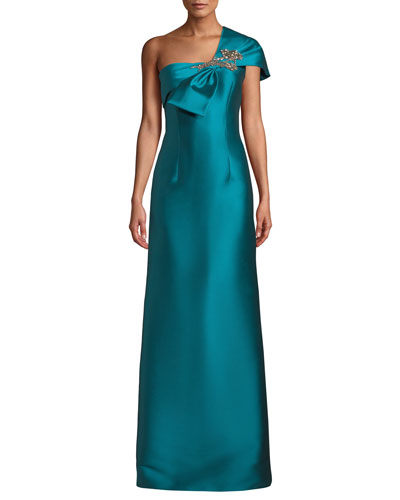 Ines One-Shoulder Gown w/ Bow