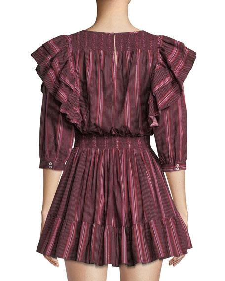 Cassi Striped Ruffle 3/4-Sleeve Mini Dress