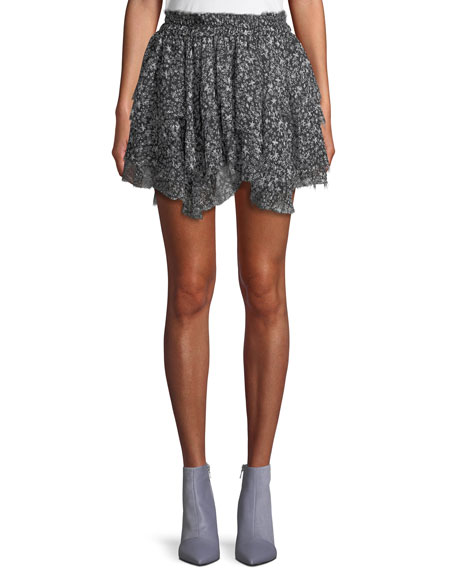 Tiered Ruffle Stars Silk Mini Skirt
