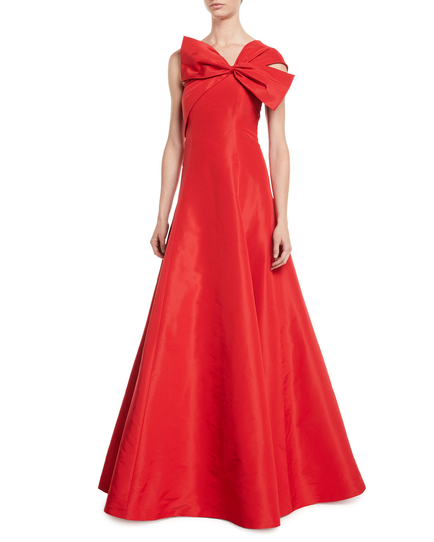 Sachin & Babi Noir Silk One-Shoulder Bow Ball Gown   Neiman Marcus