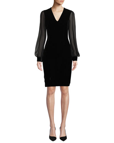 Brinker Velvet Dress w/ Sheer Long Sleeves